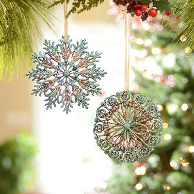 Turquoise and Gold Snowflakes, Set of 2; 19.99