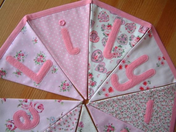 Personalised banner, name bunting. Baby girl. Christening. Custom. Fabric flags. Pink florals, rosebuds. Applique hearts, butterflies. .