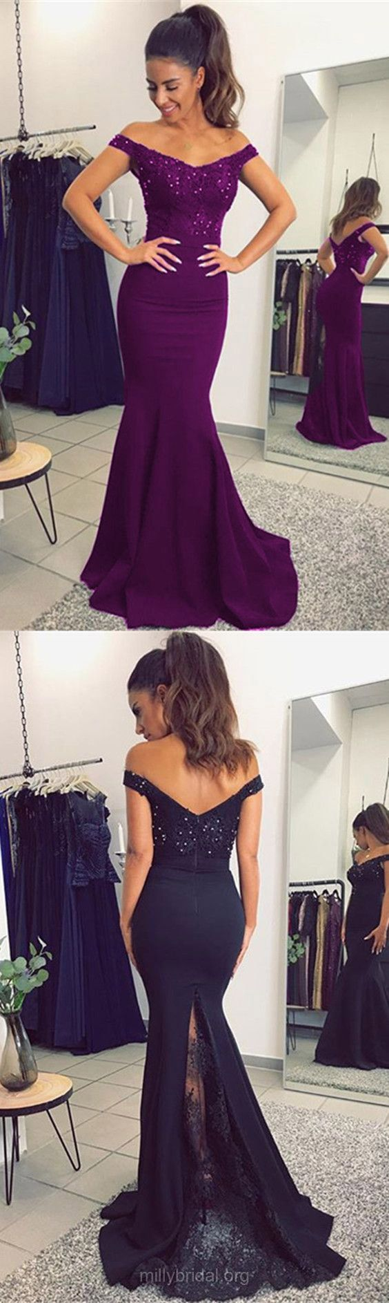 Lace Prom Dresses, Long Prom Dresses, Trumpet/Mermaid Prom Dresses Off-the-shoulder, Tulle Silk-like Satin Prom Dresses Appliques #promdresses #longpromdresses