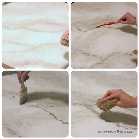 how to paint faux marble countertop, Batchelors Way on Remodelaholic