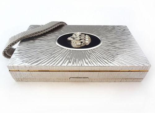 Art Deco Rhinestone Compact Metal Purse Evans Crown Mirror