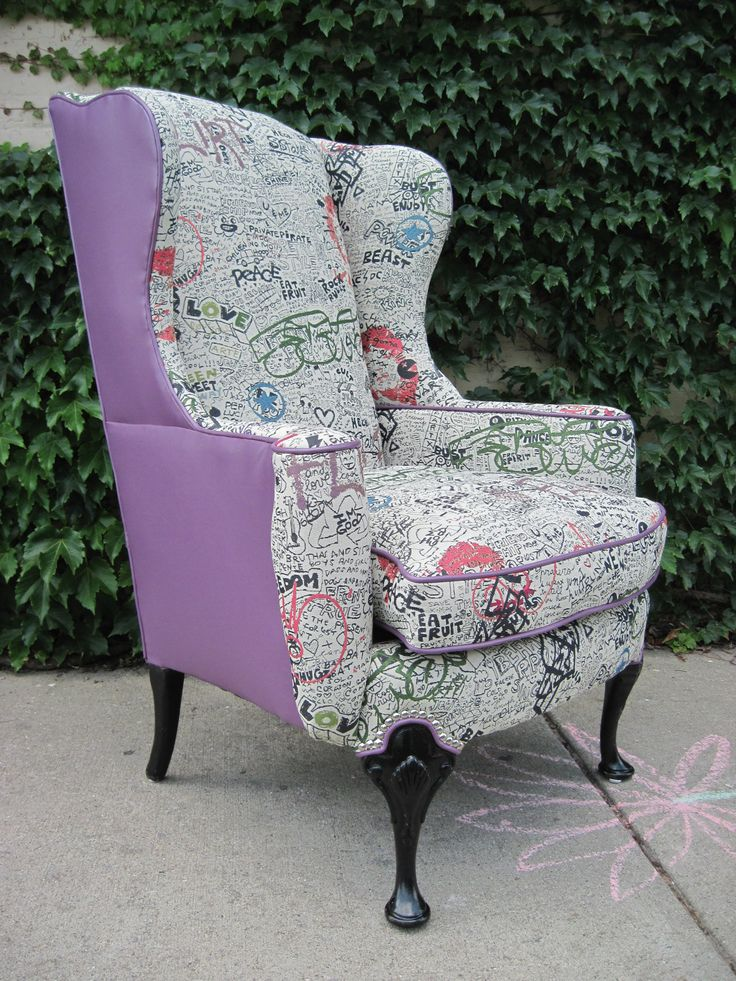 Vintage Reupholstered Wing Back Graffiti Chair 119500 Via Etsy