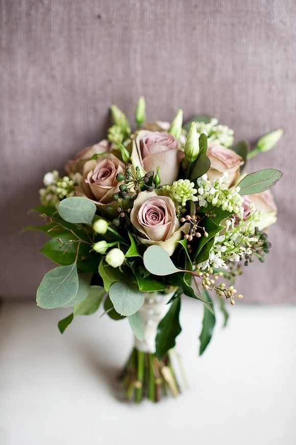 Wildlower-esque pink and green bouquet