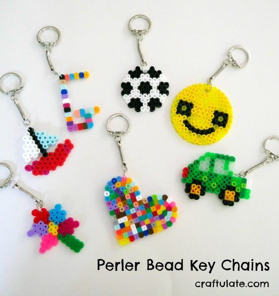 Perler Bead Key Chains - a fun craft for kids to make. It also really works on fine motor skills!
