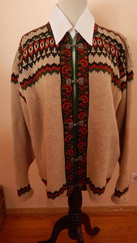 BEAUTIFUL SWEATER FROM NORWAY SILVER CLASPS, LOVELY TAPESTRY TRIM, L  #NESJAR #Cardigan