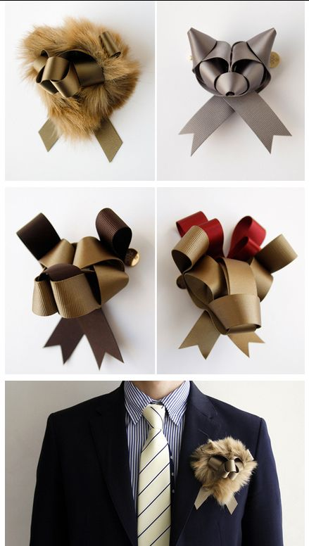 AWESOME.    Japanese artist and illustrator Baku Maeda started Ribbonesia in 2008, after discovering a unique way to fold ribbons into wearable animal sculptures. Each piece is made by hand, with custom colors, so that none of the animals are the exact same.