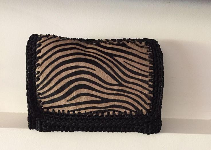 Handmade pony skin crochet flap bag