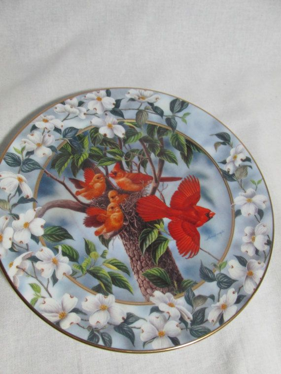 Signs of Spring series collectors plate comes from The Bradford Exchange. This one is called How Fast they grow by Joe Thornbrugh and is the second issue in the series. It is limited edition to 95 days of firing and is dated 1994. It is 8 in diameter. It has the Certificate of Authenticity and styrofoam protector. It is stamped Not for food use. It is for decorative use only. It is in mint condition.    HDMGmtld