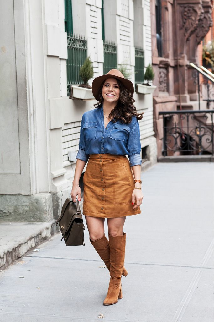 Fashion Mania: Casual Look | Suede Skirt + Denim Shirt