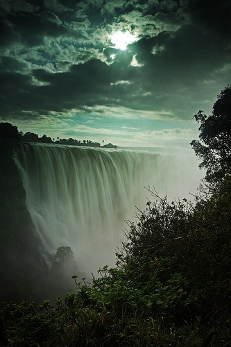 Even behind clouds, Victoria Falls is an awesome sight to behold.