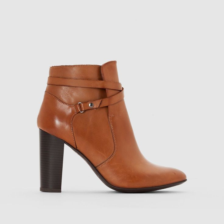 La Redoute Womens Heeled Leather Ankle Boots With Crossover Straps