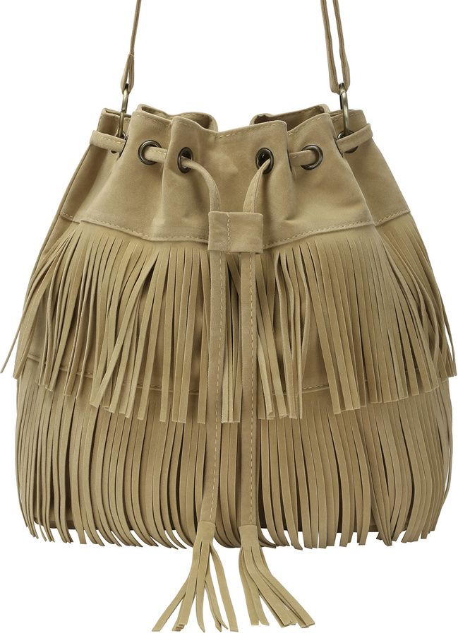 Romwe Pinterest Eyelet DrawstringProducts Khaki Bag Fringe With nw08OvmN