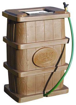 Wood Grain Finish Rain Barrel - contemporary - Rain Barrels - ivgStores