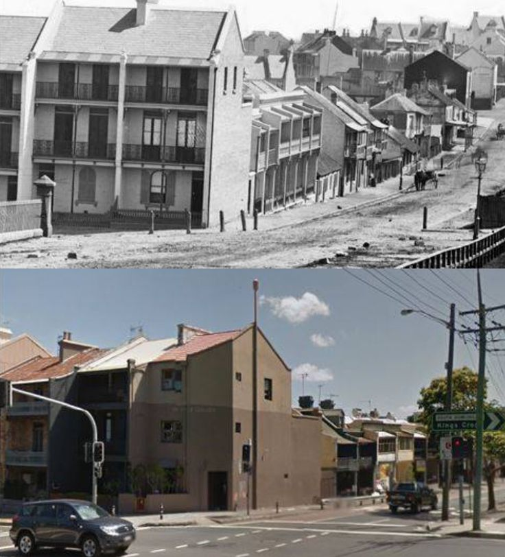 South Dowling Street, Surry Hills looking west down Fitzroy Street c1871 > 2014 (State Library > Google Street View. By Les de Belin)