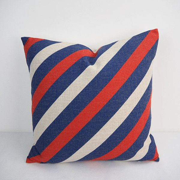 Navy blue pillows nautical pillows blue red pillows for Red and blue pillows