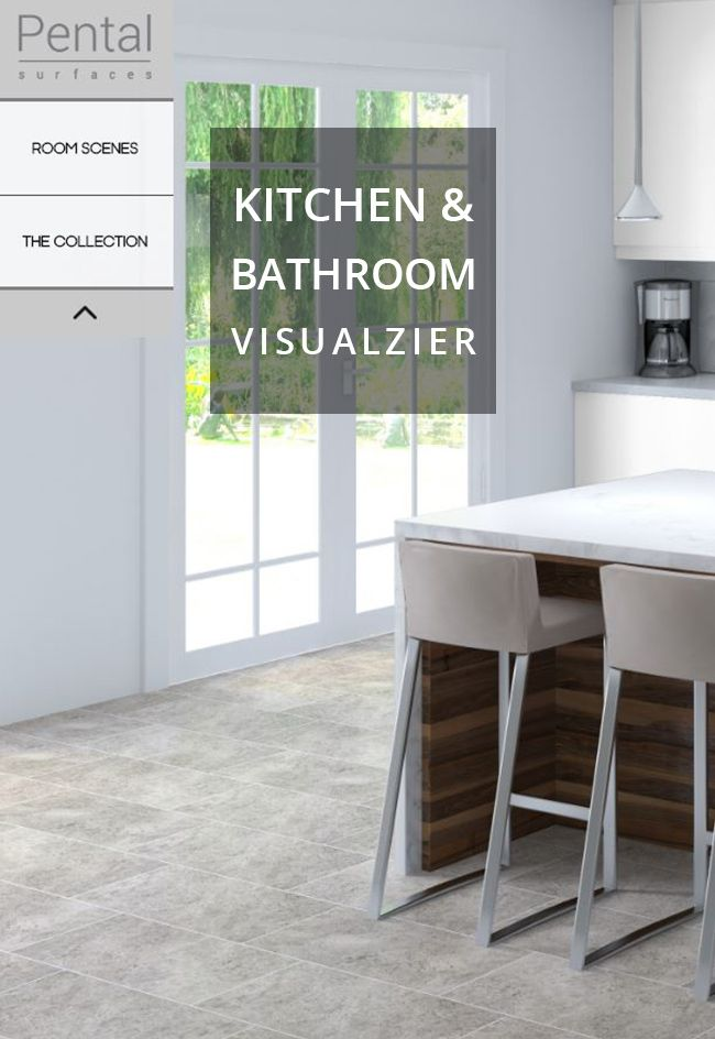 We know it can be difficult to visualize color combinations for kitchen or bathroom surfaces, so we've created a Visualizer! This fantastic tool allows anyone to customize a room with materials available from Pental. Choose from three room scenes, and select the countertops, flooring, backsplash, and cabinet color. You can even customize the grout color and tile direction! Once you've designed a room, save and print it, email it, or share it on social media.