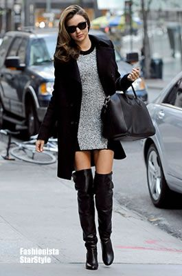 ミランダ・カーに学ぶ♡おしゃれ可愛いニットワンピースのコーデ♡スタイル・ファッションの参考に♪