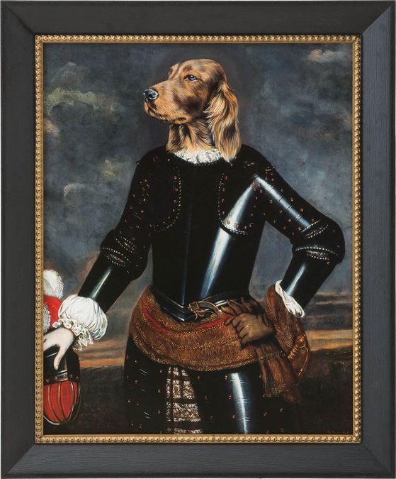 Dog is een print met een zwarte lijst en afgedekt met glas. Een toevoeging voor zowel modern als klassiek interieur.