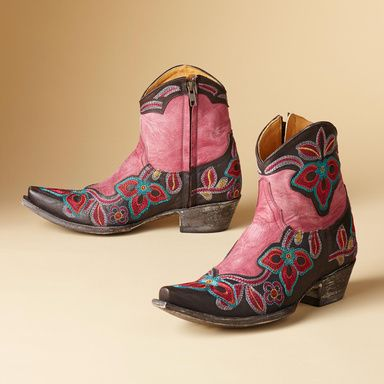 MARRIONE ZIPPER BOOTS BY OLD GRINGO�--�Kick up your heels in bright, tropical flowers. Handmade by Old Gringo, featuring detailed embroidery on rich, chocolate leather. Inner side zipper.