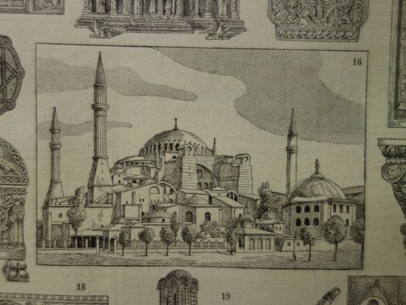 Old pictures of Byzantium Byzantine design Roman 1923 antique by DecorativePrints on Etsy