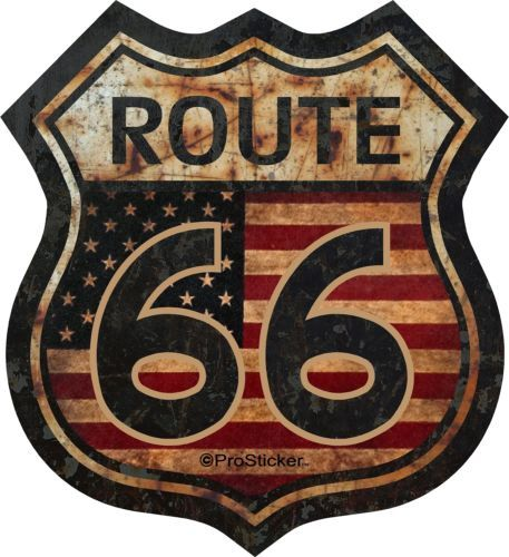 "ProSticker 825 (uno) 5"" Route 66 bandera AMERICANA DECAL STICKER Junk Yard Rat Rod"