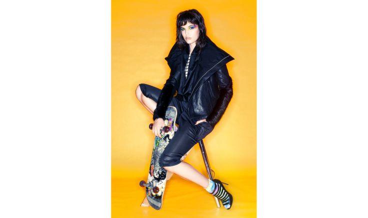 Kendell wears: Jacket by Rick Owens, jumpsuit by Zambesi (shop now http://www.ZAMBESIstore.com), tank by Gareth Pugh, shoes by Linda Farrow, socks stylists own.