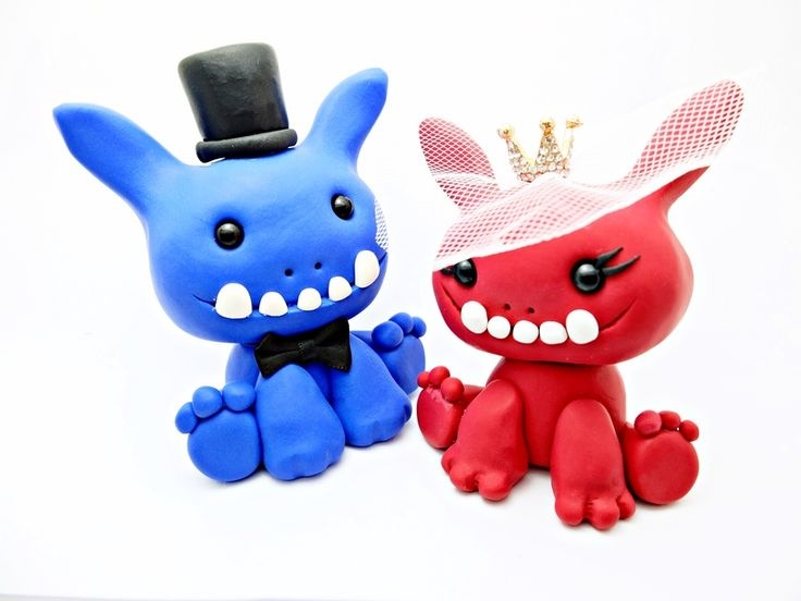 Hochzeitsdeko - Hochzeitstortenfiguren Brautpaar Figuren Monster - ein Designerstück von zwergschmuck bei DaWanda