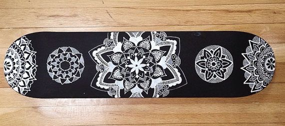 Hand Painted Mandala Skateboard by LavaBoards on Etsy