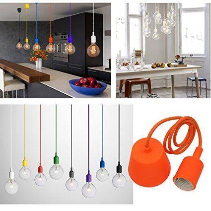 Princeway Colorido Silicona Lámparas de Techo Colgante- Portalamparas E27- Europea Moderna IKEA Estilo- Adecuado para Todos Bombillas E27- DIY Fácil Instalación para Cocina, Comedor, Sala de Estar, Habitaciones Niños y Restaurante (Naranja)