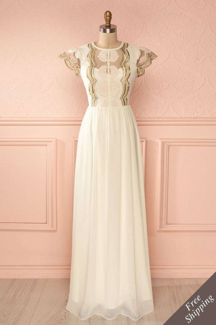 Robe longue ivoire broderies argentées filet manches courtes - Short sleeved cream dress silver embroideries mesh