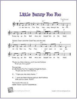 Little Bunny Foo Foo | Free Sheet Music for Guitar - http://www.makingmusicfun.net/htm/f_printit_free_printable_sheet_music/little_bunny_foo_foo_leadsheet.htm