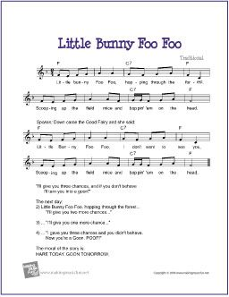 Little Bunny Foo Foo | Free Sheet Music for Guitar - http://www.makingmusicfun.net/htm/f_printit_free_printable_sheet_music/little_bunny_foo_foo_leadsheet.htm