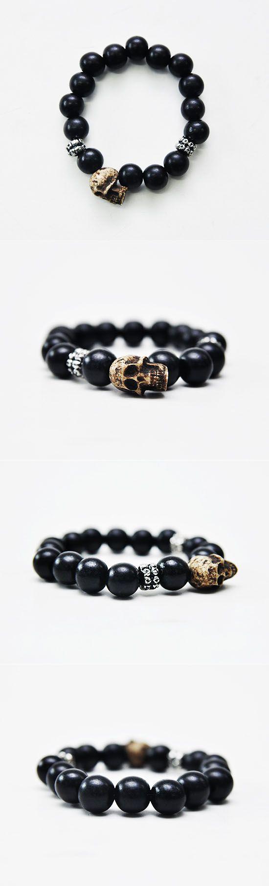 Mens Antique Skull Charm Wood Beads Bracelet By Guylook