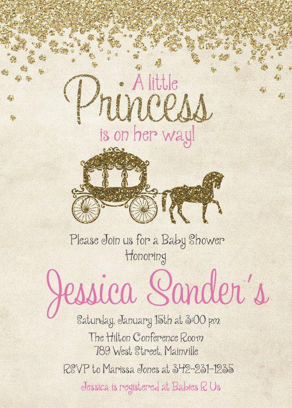 Princess Baby Shower Invitation Pink Gold Glitter Sparkle