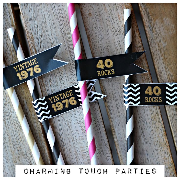 40th Birthday party straws + straw flags. Set of 18. Ladies black, gold and pink party decorations. Fully assembled and customizable. by CharmingTouchParties on Etsy
