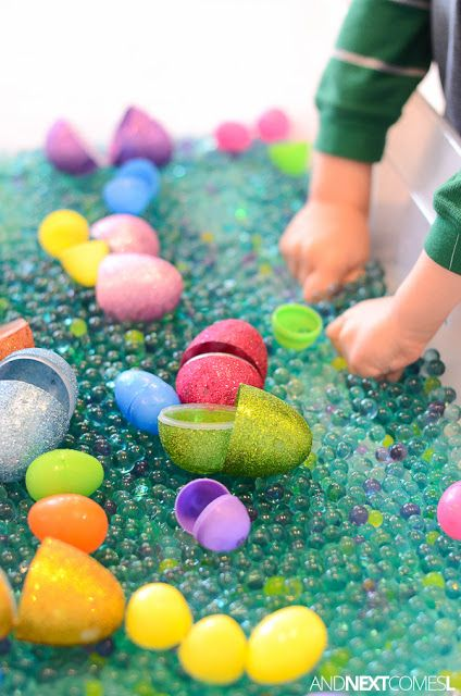 Easter sensory bin with water beads from And Next Comes L