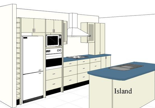Kitchen Design Kuala Lumpur I-Shape Kitchen Layout with Island
