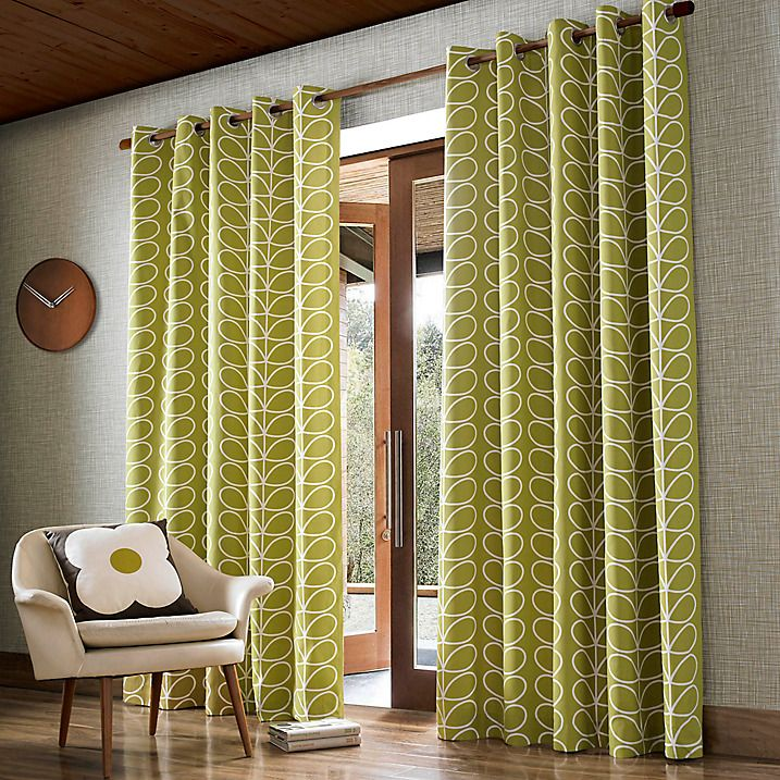 Buy Orla Kiely Linear Stem Lined Eyelet Curtains Olive W117 X Drop 137cm Online