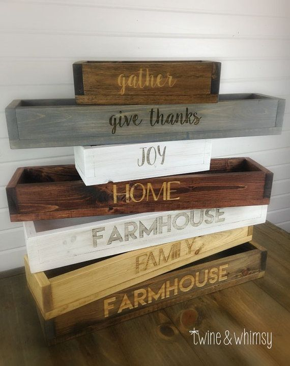 rustic wood box farmhouse table centerpiece long by twineandwhimsy more
