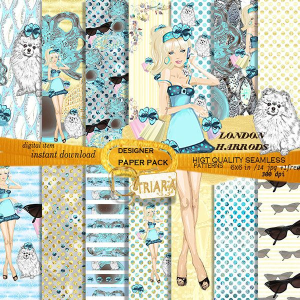 Princess Retro Paper Pack London Scrapbooking Supplies Spring Fashion Illustration blue printed cute dog cute girls Lady Planner Stickers by Triaraart on Etsy