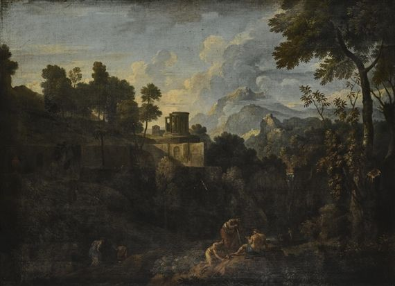 jan frans van bloemen LANDSCAPE WITH THE TEMPLE OF VESTA, TIVOLI, WITH FIGURES RESTING ON THE BANK OF THE RIVER