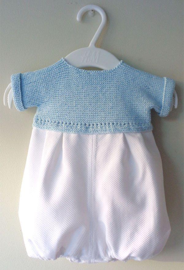 Ranita de piqué y punto en algodón azul bebé de primera puesta hecha a mano #handmade #babyfashion #modabebe #hechoamano
