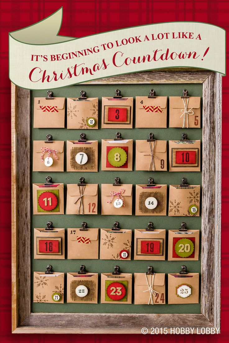 Create a crafty Christmas countdown with this simple DIY Advent calendar! 1) Using a variety of stamps, stickers, twine and paper, embellish and number 25 paper envelopes. 2) Attach metal clips onto a large sheet of green paper or poster board using hot glue or glue dots. 3) Fill each envelope with a handwritten note or other small Christmas surprises. 4) Finish the piece off with a barn wood frame.