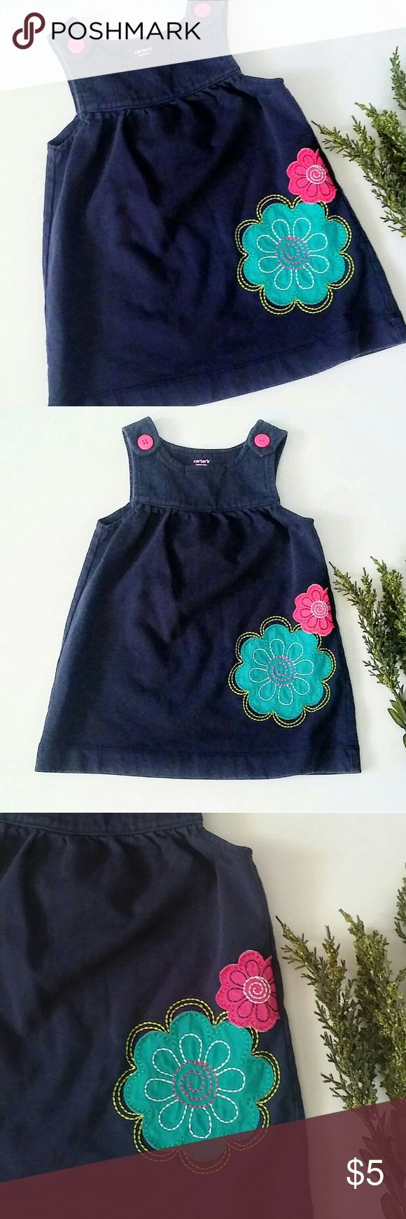 🌟New listing🌟Carter's jumper dress (12mo) navy Great used condition. Pair with a long sleeve onsie and tights! Bundle to save! Carter's Dresses