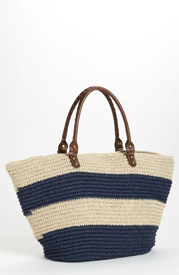 comes in blue & pink Straw Studios 'East West' Tote | Nordstrom