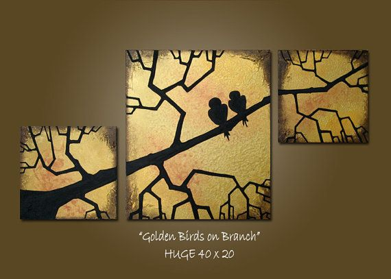 art inspiration for split panel card: Custom Golden Birds on Branch - HUGE 40 x 20, Heavy Textured Acrylic Art PAINTING on canvas, Contemporary Earthy Love Birds Art  ... Etsy ... luv the gold background ... black silhouette ...  dynamic use of lines moving upwards ... gorgeous!!