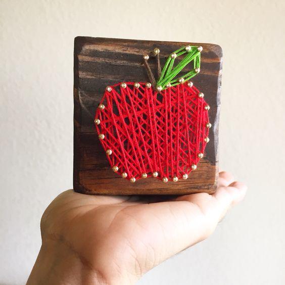 apple string art teacher appreciation gift idea