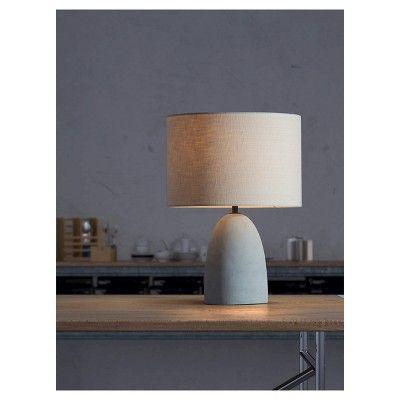 Contemporary Faux Concrete Gray and Beige 17 Table Lamp - ZM Home, Beige/Concrete Gray