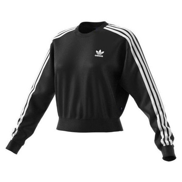 Adidas Womens Originals 3 Stripe Crop Sweatshirt Black White ❤ liked on Polyvore featuring tops, hoodies, sweatshirts, black and white striped sweatshirt, black and white stripe top, cropped sweatshirt, adidas and crop tops