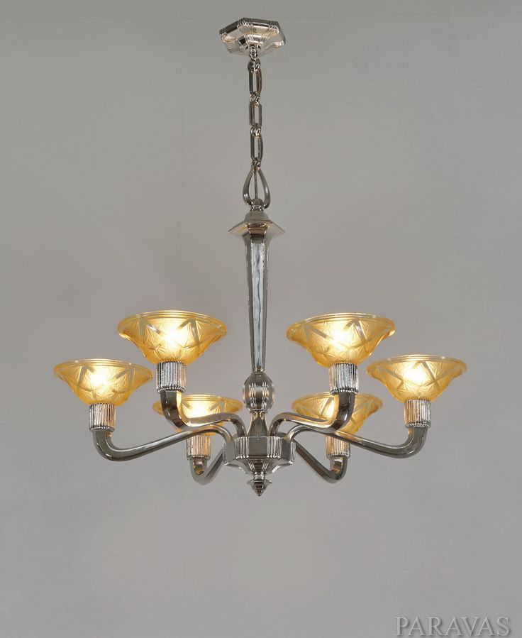 Des hanots large 1930 french art deco chandelier holding 6 amber coloured shades signed verreries